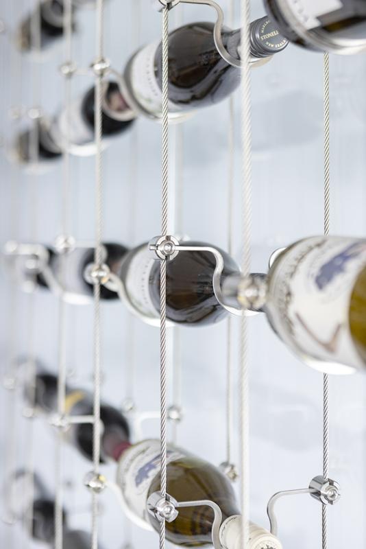vinreol i rustfrit stål på specialmål
